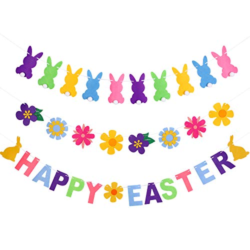 Chuangdi Easter Banner Set Easter Bunny Bunting Banner Felt Flower Garland for Easter Party Decoration Photo Props