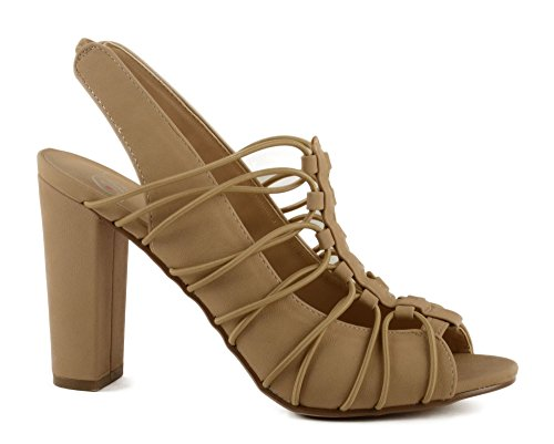 Läcker Kvinnor Gren Elastiskt Bundet Peep Toe Blocket Klack Sandal W / Elastiskt Ryggbandet Naturliga