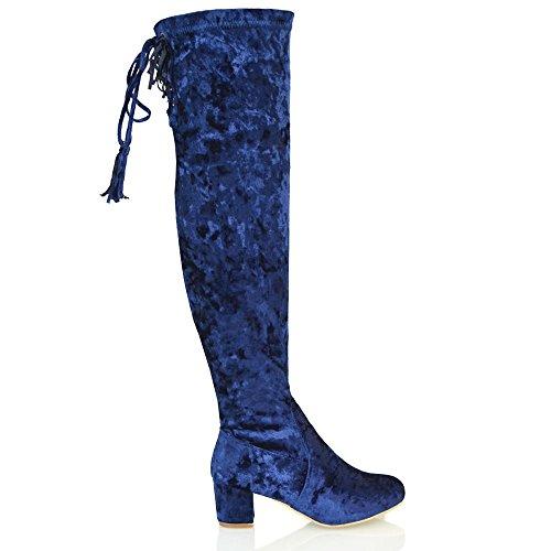 Essex Glam Dames Over De Knie Hoge Lage Hak Fluwelen Dij Hoge Laarzen Marine Fluweel