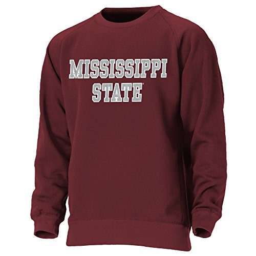 Ouray Sportswear NCAA Mississippi State Bulldogs Mens NCAA Men's Block Letters Crewneck Sweatshirt, Maroon, - State Letter Mississippi Bulldogs