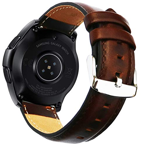 Ticwatch E & Galaxy Watch 42mm Bands, 20mm Quick Release Garmin Vivoactive 3 Luxury Genuine Leather Strap for Samsung Gear Sport SM-R600/Vivoactive3/Ticwatch E & 2 Smartwatch by OTOPO (Brown)