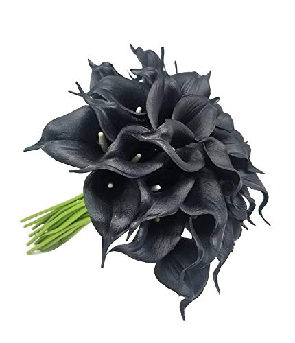 FRP Flowers 20 PCS Real Touch Calla Lily Latex Flowers for Artificial Floral Arrangements, Bridal Bouquets, and Home Decor (Black) ()