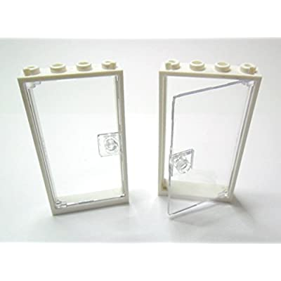 2 LEGO Porte Maison Frame blanc 1 x 4 x 6 Type 2 trans clear