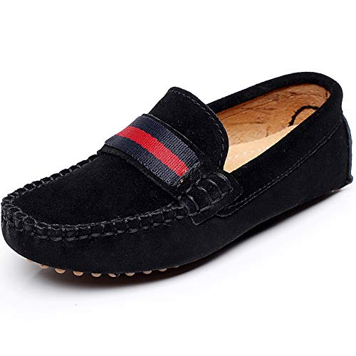 Black Boys Slip On - Shenn Boys Girls Fashion Strap Slip-On Black Suede Leather Loafer Flats 2998 US2.5