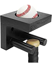 Baseball Bat Wall Mount for Vertical Display, Black Solid Wood Baseball Bat Display Case, Softball Bat Holder Stand, Baseball Bat & Baseball Holder with Hidden Screws for Memorabilia and Collectible