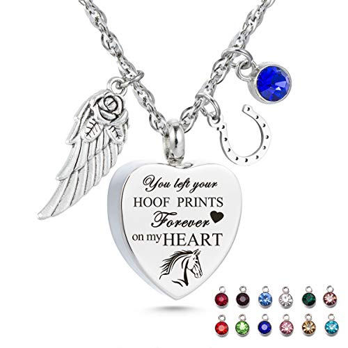 You Left hoof Prints on My Heart Urn Necklace for Ashes Horseshoes Cremation Urn Pendant with 12 Birthstones Memorial Keepsake Jewelry