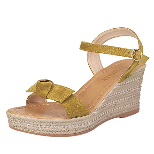 Ladies Sandals Fzitimx Sandals Women's Summer New Casual lace Open Toe Wedge with Platform Fairy Shoes Platform Sandals Wedge Platform Sandals Yellow -