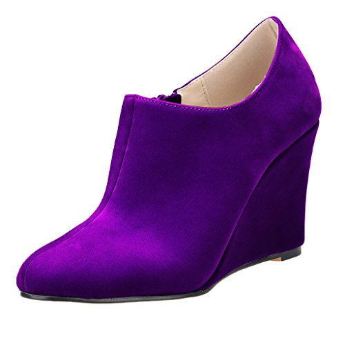 ZriEy Women's Faux Suede Platform Wedge Bootie Velvet Purple size (Purple Suede Booties)