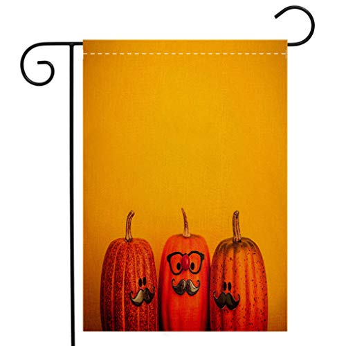 BEIVIVI Creative Home Garden Flag Three Pumpkin Characters Wearing Mustaches for Halloween Welcome House Flag for Patio Lawn Outdoor Home Decor