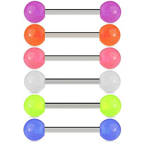 BodyJ4You 6PC Nipple Bars Tongue Barbell Glow in Dark 14G Stainless Steel Set Body Piercing Rings