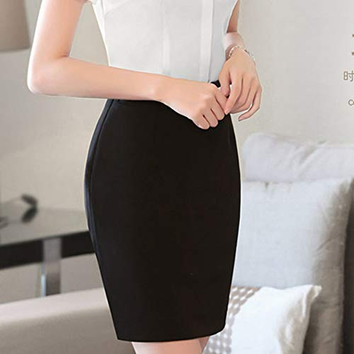 Femme Couleur Businesse Jupe Ymysfit Travail Commerciale Simple Noir OL Courte Professionnel Slim Unie adZBZwqn