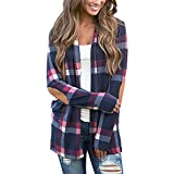 COSYOU Autumn Cotton Blends Cardigan New Women Plaid Tops Casual Camisa Feminina Urban Leisure Style Blouse Blusas Mujer De Moda (Dark Blue, L)
