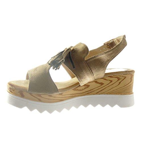 Angkorly - Zapatillas de Moda Sandalias zapatillas de plataforma abierto mujer fleco pompom madera Talón Plataforma 6.5 CM - Marrón
