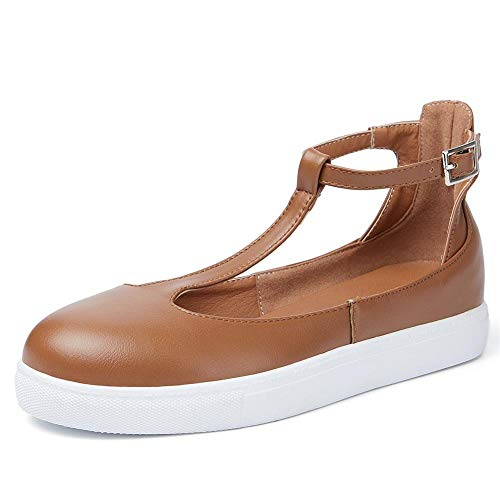 (VANDIMI Mary Janes Flats Shoes T Strap Sneakers for Women Comfortable Round Toe Loafers Vintage Buckle Leather Casual Shoes)