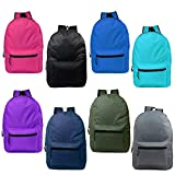 17'' Wholesale Kids Basic Backpack in 8 Assorted Colors - Bulk Case of 24 Bookbags