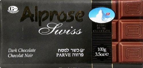 Alprose Chocolate Bar Dark Parve, 3.5 oz