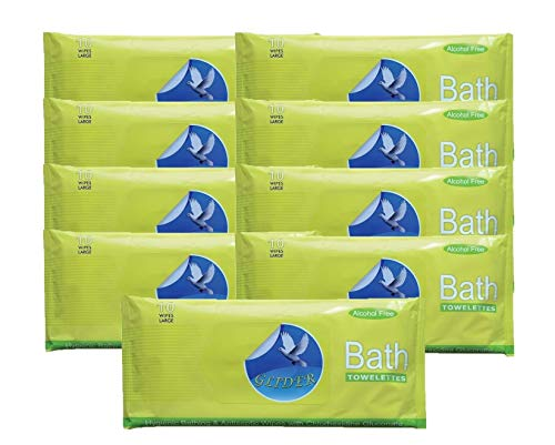 Glider Bed Bath Wipes (Pack Of 9, 90 Pcs)