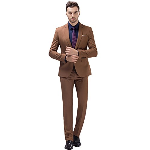 MAGE MALE Mens Solid 3-Piece Suit Slim Fit Notch Lapel One Button Tuxedo Blazer Jacket Pants Vest Set (XS, Khaki) (Notch Vest Lapel)