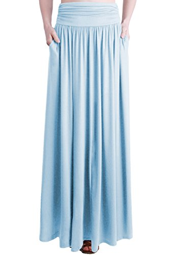 - TRENDY UNITED Women's Rayon Spandex High Waist Shirring Maxi Skirt With Pockets (BBLU, Large)