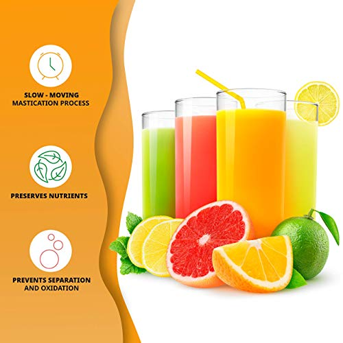 Ivation Slow Masticating Juicer Machine, High Yield Nutrient Juice Extractor, Cold Press Healthy Fruit & Vegetables, BPA-Free & Easy to Clean with Quiet 70 RPM Motor and with Reverse Function
