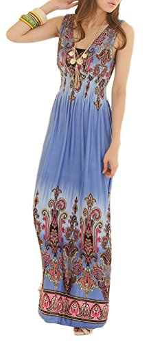 V Cou De Manches Élastiques Robe Maxi Floral Plage Tropicale Blue1 Des Femmes Soojun