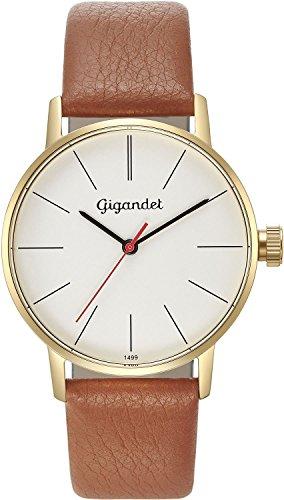 Gigandet Women's Quartz Watch Minimalism Analog Leather Strap Gold Brown G43-010