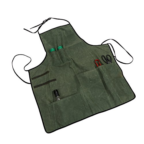 Waxed Canvas Workshop Apron Tool Apron Heavy-Duty Multi-Purpose Utility Cargo Apron Coverall for Waiter Waitress Men & Women HSW-086-US by Hersent