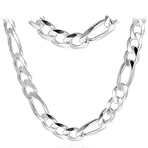 Figaro 350-12MM .925 Sterling Silver Italian Link Chain (22 Inches) by Oxford Diamond Co