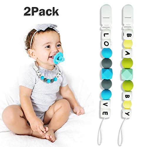 Pacifier Clip for Boys and Girls, Baby Holder Leash, Silicone Teething Straps Unisex Design, Silicone Pacifier Clip, Baby Shower Gift Set, Easy to Use for Teething Toys (Baby Love)