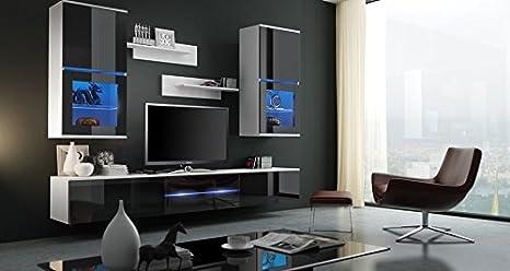 ZOE Moderno Conjunto De Muebles De Salón - Comedor (Blanco Mat Base/Negro AB Frente, Azul LED)