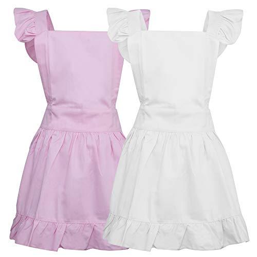 Aspire Kitchen Apron For Women Retro Cotton Frilly Maid Apron Vintage Costume Halloween Party Gift-pink white ()