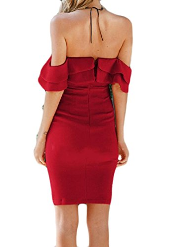 Backless Shoulder Dress Off Women Coolred Sexy Flounced Red Solid Mid Sleeve xqEf4g