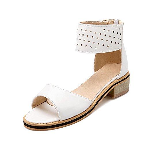 sandalias punta sólida AgooLar cremallera tacones blancas para mujer abierta bajos UHW7vZ8H