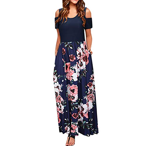 (MURTIAL Women' Long Dress Cold Shoulder Poet Floral Print Elegant Maxi Short Sleeve Casual Dress Party Dress(Navy,XXL))