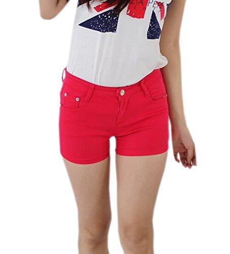 Cortos Flacos Juniors Pants Mujeres Estiramiento Jeans Sólido Rojo Deley Denim Hot Pantalones Fit wIqPYXX