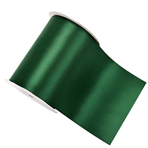 YAMA Double Face Satin Ribbon Roll - 4 inch Wide Solid Color Craft Ribbon, Great for Chair Sash- 5 Yard/Spool, Green