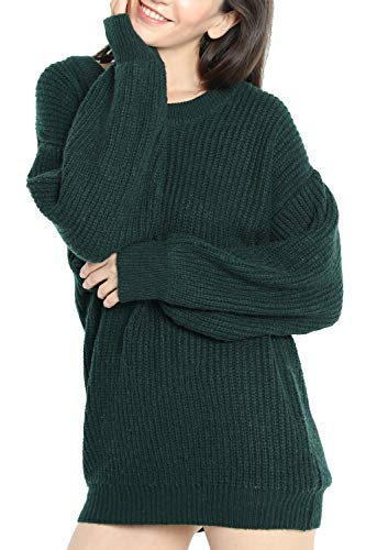 Liny Xin Women's Cashmere Oversized Loose Knitted Crew Neck Long Sleeve Winter Warm Wool Pullover Long Sweater Dresses Tops (Model 2, Green)