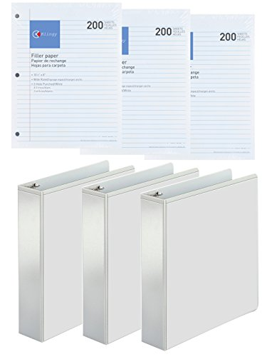 3-Ring Binder, Presentation View Binders - 2 Interior Pockets - Crystal-Clear Front Overlay For Easy Customization, 3-Pack - Extra Bonus, Filler Paper Wide Ruled 200 Sheets, 3-Pack (2 Inch, White)