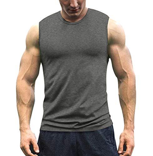 COOFANDY Men's Workout Tank Top Sleeveless Muscle Shirt Cotton Gym Training Bodybuilding Tee Dark Grey