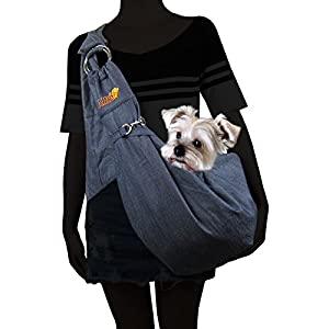 Alfie Pet by Petoga Couture - Chico 2.0 Revisible Pet Sling Carrier with Adjustable Strap - Color Denim and Brown