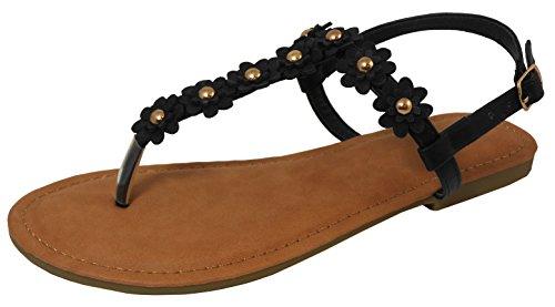 Cambridge Select Women Open Teen T-strap String Studs Bloem Buckled Slingback Platte Sandaal Zwart Pu