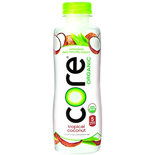 CORE Organic, Tropical Coconut, 18 Fl Oz (Pack of 12), Fruit Infused Beverage, Vegan/Gluten-Free, Non-GMO, Refreshing Flavored Water with Antioxidants, Great For Immunity Support