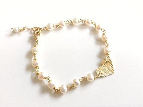 Bracelet Cultured Pearl 18k Gold Plated Handmade Heart Charm