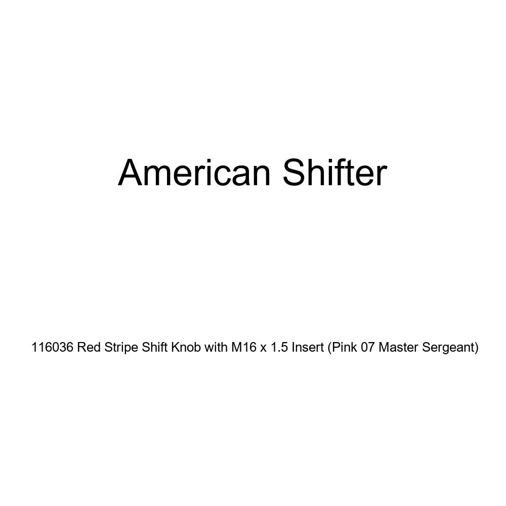 American Shifter 116036 Red Stripe Shift Knob with M16 x 1.5 Insert Pink 07 Master Sergeant