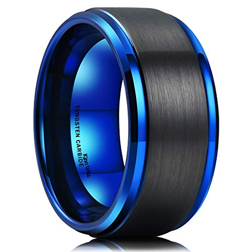 King Will Duo 10mm Black Brushed Blue Tungsten Carbide Wedding Band Ring Polish Finished Comfort Fit 7.5