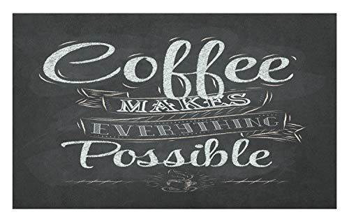 Lunarable Coffee Doormat, Coffee Makes Everything Possible Inspirational Message on a Chalkboard, Decorative Polyester Floor Mat with Non-Skid Backing, 30 W X 18 L Inches, White and Grey Teal from Lunarable