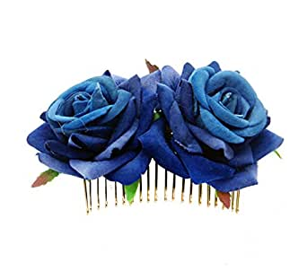 DDazzling Women's 2 xRose Hair Flower Clips Fascinator Flowers Hair Claw Accessories (!Blue)