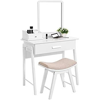Amazon Com Crown Mark Iris Vanity Table Stool White