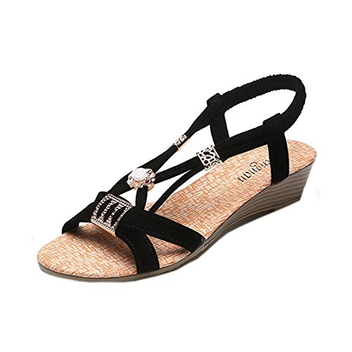 c325cdfa4c2 Verano Kingko® Sandalias Para Black Bohemia Leisure Outdoor Mujer Tacón  Shoes Beaded Sandals De toe ...