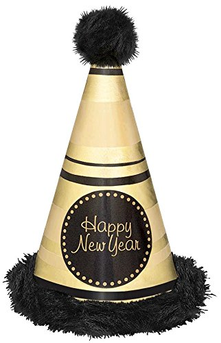 Deluxe Black And Gold Mask (Rocking New Year's Party Deluxe Striped Marabou Cone Hat Accessory, Black/Gold, Paper, 13